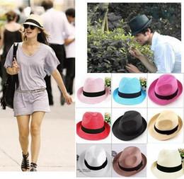 2014 summer fashion solid straw hat Sun Hats for women man Unisex Fedora