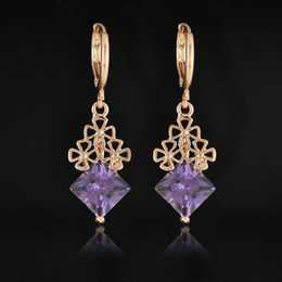 Factory Price 2015 New 18K Rose Gold Plate18K Rose Goldd CZ Diamond Drop Earrings Hollow Out Flowers Design Square Shape CZ Crystal Earrings