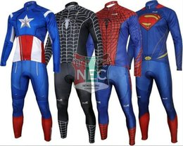 Men's Long Sleeve Cycling Suit Super Heroes IRON MAN SUPER MAN BATMAN Bike Jersey + PANTS Plus Size maillot with Gel pad Spider Man ciclo