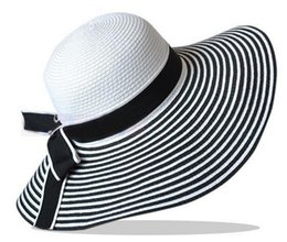Wholesale-New fashion 2015 women Beach Foldable Large Wide black and white stripe wide brim sun visor hat sun caps sun hats for women