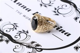 New Mens Rings Black Precious Stones Real Gold Plated Ring For Men Retro Texture Engraving Men Jewelry wedding rings