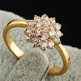 Upscale 18K Gold Full Stars Big Cubic Zirconia Charms Womens Engagement Wedding Rings Brand Jewelry A980