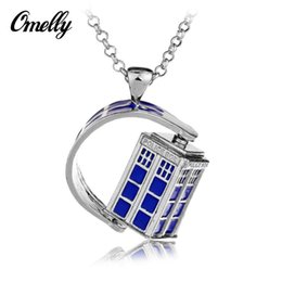 Wholesale Doctor Who Necklace Turning Pendant Doctor Who Classic Antique European Movie Jewelry Mysterious Dr TRADIS Necklaces Police Box Chains