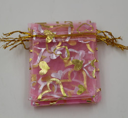 MIC Jewelry Packing 100Pcs Pink Heart Organza Pouch Wedding Favor Gift Bags 7x9cm  9x12cm   13x18cm
