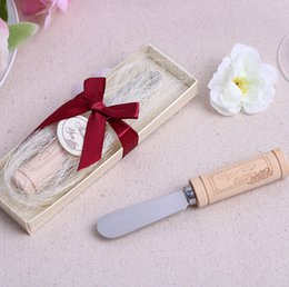 Wholesale wedding gift and giveaways Stainless Steel Butter Spreader with Wine Cork Handle party favor