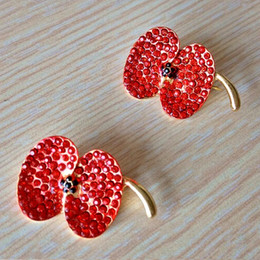 Wholesale Luxury UK Fashion Bright Red Crystal Poppy Pin Brooch Pretty Poppy Flower Brooch Badge Hot Sale Brooch B856