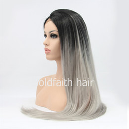 SF2 Cheap Long Ombre Synthetic Hair Grey Wig Straight Lace Front Synthetic Hair Wig For White Women