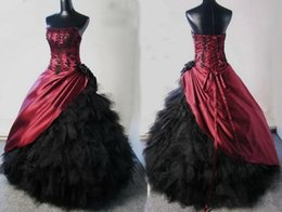 Wholesale Ball Gowns Victorian Gothic Wedding Dresses Halloween Burgundy Black Appliqued Black Ruffle Tulle Lace up Sexy Corset Bridal Gowns