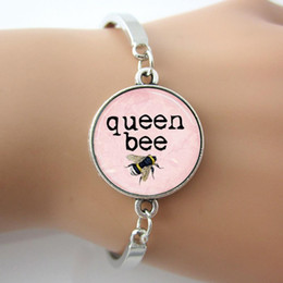 Queen Bee Bangle,Honey Bee Bumblebee Insect Light Pink Art Pendant Bangle,Fashion H Bracelet For Women GL008