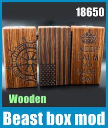 Promotion mods boîte en bois 2015 bête boîte Mod matériel en bois équipés de la batterie 18650 510 double fil Mech E Cigarette VS Sigelei 150w boîte TZ511