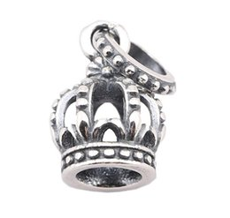 100% Sterling Silver Charms 925 Ale Crown European Charms for Pandora Bracelets DIY Beads Accessories Free Shipping