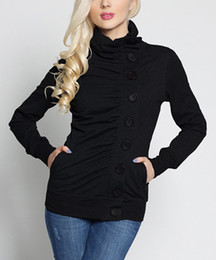 New Women Hoodies & Sweatshirts Long sleeved sweater fashion black breasted sweater A casual cardigan coat Women's Clothing