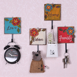 Wholesale Beautiful Retro creative gifts decorative wooden iron art wall square cloth hanger antique hat coat door hook home vintage color