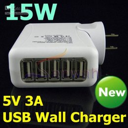 10pcs 5 USB AC Travel Charger 15W 5V 3A US EU AU UK Plug Wall Adapter for smartphone android phone