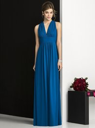 High quality chiffon floor Length Blue Bridesmaid Dresses A-Line Sexy v neck sleeveless off the shoulder bridesmaid dresses