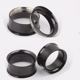 F16 Mix 5-20mm 144pcs Stainless Steel black Ear Tunnel Body Jewelry double Flare Flesh Tunnel internally threaded