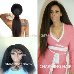 Italian Yaki Full Lace Wig Virgin Brazilian Human Hair coarse Yaki Straight Lace Front Wig kinky straight Wig For Black Women