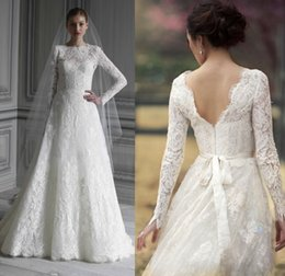 Wholesale Sexy 18 Image - Modest Lace Wedding Dresses 2015 Muslim Long Sleeves Bridal Gowns A Line Crew Neck Zip Back Floor Length Size 12 14 18 20 22 28