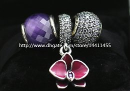 S925 Sterling Silver Charms and Murano Glass Bead Set with Charm Box Fits European Pandora Jewelry Charm Bracelets-Su016
