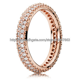 Wholesale 100 S925 Sterling Silver Rose Gold Plated European Pandora Style Jewelry Inspiration Within with Clear CZ Ring Fashion Charm Ring
