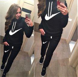 top quality autumn Winter cotton women's Letter Print SportSuit Tracksuits Woman Sweatshirt Hoodies+pant Pullovers Jogging Sets