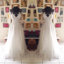 New Arrival Wedding Dress Beading White Lace Body Half Sleeves Long Elegant Wedding Dress Real Picture Wedding Gown