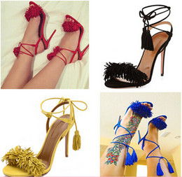 Promotion chaussures t tendre talons Sweet Tassel Cheville Lace-Up Femmes Sandales 2015 Hot Sale Retour sangles Suede Peep Toe Fringe Sandales Nouveau talons hauts Party Shoes Femme
