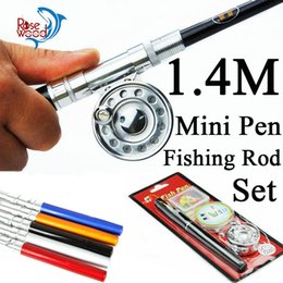 Wholesale 2015 cheap m mini pen fishing rod set ice fly fishing rod pen m line full metal fishing reel set