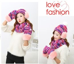 Wholesale-Girls accessories knitting winter warm fashion hats for women cap The finity Scarf and Gloves set 3 piece set hat christmas gift