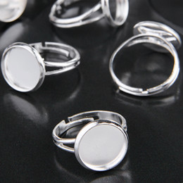 Drop Shipping Wholesale New Arrival Hot Sale100pcs 12mm Adjustable Silver Plated Round Ring Blanks, Fashion Jewelry Settings, Ring Settings