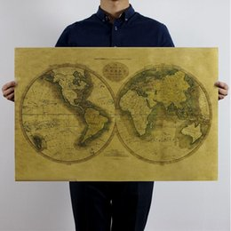 Wholesale retro world maps kraft paper poster wall stickers room decoration home decals ancient global geographical mural art home decoratio