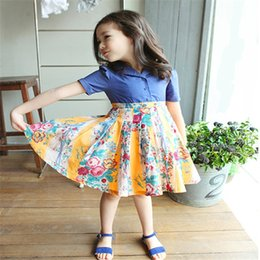 2016 Kids girls Print Floral Cotton dresses baby girl summer ruffle tutu dress girl Korean princess dress children's clothing