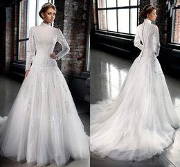 Elegant Long Sleeves High Neck Muslim Wedding Dresses A-Line Wedding Dresses with Applique Chapel train bridal gowns