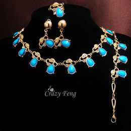 Bague en or aquamarine à vendre-L'or jaune de 18k de femmes de femmes d'expédition libre a rempli les cadeaux bleus de bijoux de femmes de bague de boucles d'oreille de bracelet de collier de cristal d'Aquamarine