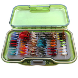 Wholesale 54pcs vintage wet and dry fly lure with box bass bait lure stream trout fishing