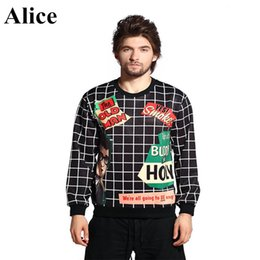 Wholesale w1216 Alice autumn new men hoodie English cartoon fleece The European and American wind menswear couples sweatshirts