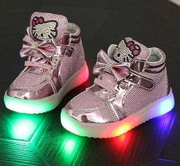 Cat Flats size 21-30 New Baby Girls boy LED Light Shoes Toddler Anti-Slip Sports Boots Kids Sneakers Children's Cartoon