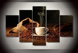 Modern Wall Art 5 Panel Coffee Mugs Painting Home Dinning Room Decor Canvas Art Large HD Pictures Free Shipping
