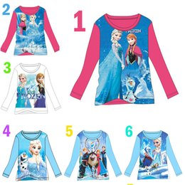 Wholesale Frozen Queen disney Elsa Anna Girls Blouse Tops Shirts Y Toddler Clothing