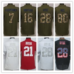 Wholesale Factory Outlet Men s Colin Kaepernick Joe Montana Carlos Hyde Jerry Rice Limited Salute To Service Green Football Je