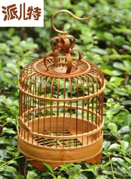 Wholesale Ceiling hook grasshopper cage handmade exquisite small cage bamboo decoration