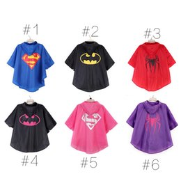 Wholesale 2015 color superman batman spiderman superhero kids waterproof Rain Coat Raincoat Rainwear Rainsuit with bags
