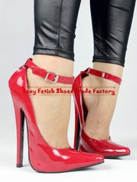 Wholesale 2015 NEW Extreme high heel cm advanced PU quot Sexy fetish High Heel BUCKLE STRAP Single Sole sex PUMPS with thin heel pointed toes Big yard