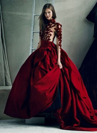 Flawless Dark Red Appliqued Prom Dresses Ball Gown High Neck Sheer Long Sleeves Evening Gowns Sweep Train Satin Formal Dress