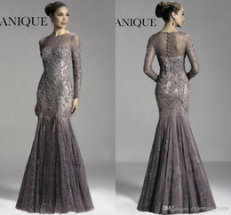 Wholesale Cheap Purple Suits For Women - Mermaid Mother of The Bride Groom For Wedding Formal Suits 2015 Pant Gowns With Lace Long Sleeves Cheap Sexy Party Dresses Women Grey Brown