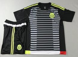 Скидка футбол одежда 2015 2016 Мексики домой черный футбол Джерси мужская тайский качества футбол равномерной мужчины открытый спортивная одежда с коротким рукавом спортивные костюмы