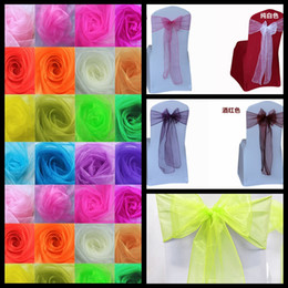 Wholesale Colorful Colors Wedding Party Banquet Organza Chair Sashes Bow Wedding Cover Banquet X275cm Wedding Supplies