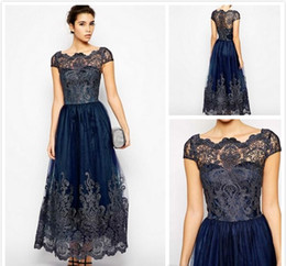 2019 Cap Sleeve Mother of the Bride Dresses Navy Blue Sheer Neck Ankle Length Formal Dress Lace Applique Evening Party Wear
