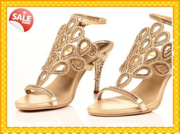 Wholesale Shoes For Gold Sequin Dress - 2015 Fashion Gold Sandal Floral Crystal Rhinestones 8cm High Heels Prom Evening Party Shoes Dress For Women Lady Bridal Wedding Shoes