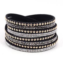 Newest multilayer Double Velvet Leather Wrap Crystal Bracelet with rhinestone crystal wrapped Bracelets charm bracelets